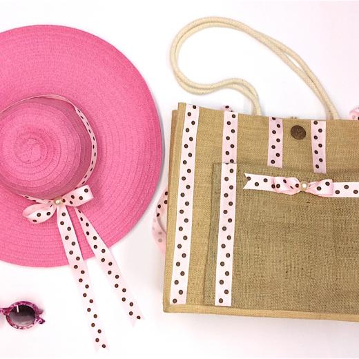 Εικόνα για Σετ τσάντα Λινάτσα Ροζ καφέ πουά