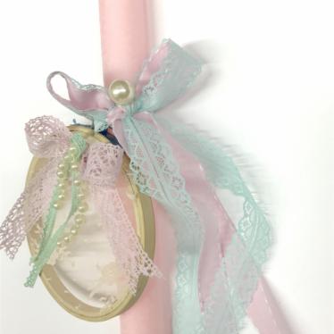 Εικόνα 2 για Λαμπάδα στρογγυλή ροζ Τελάρο Romantic