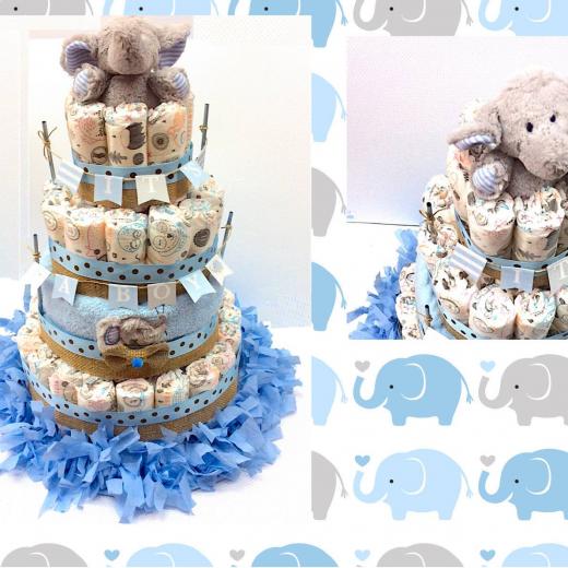 Εικόνα για Μωρότουρτα για αγόρι - DiapierCake Little Elephant