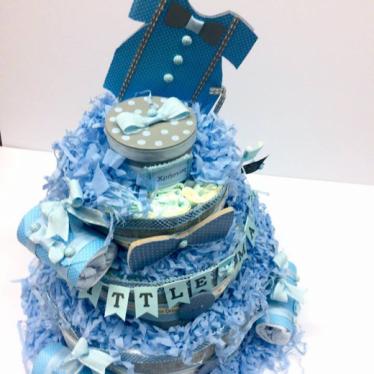 Εικόνα 2 για Μωρότουρτα Για Αγόρι - DiapierCake Baby Blue Little Man