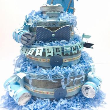 Εικόνα 3 για Μωρότουρτα Για Αγόρι - DiapierCake Baby Blue Little Man