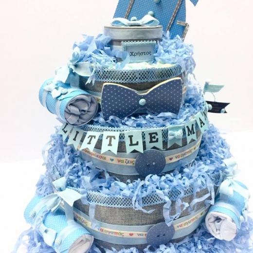 Εικόνα για Μωρότουρτα Για Αγόρι - DiapierCake Baby Blue Little Man