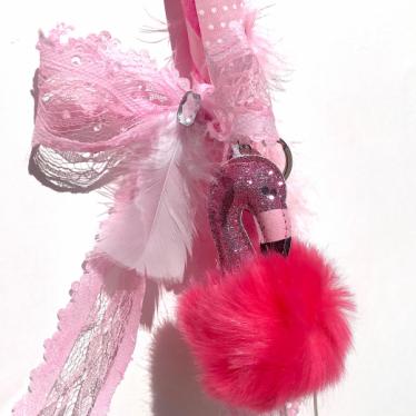 Εικόνα 2 για Λαμπάδα Φούξια Ριγέ  - Μπρελόκ Φλαμίνγκο Φούξια