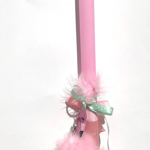 Εικόνα για Λαμπάδα ροζ μπρελόκ Ροζ φλαμίνγκο