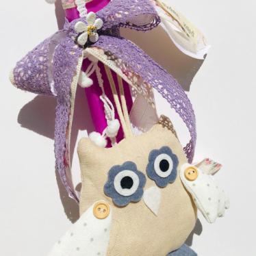 Εικόνα 2 για Λαμπάδα πλακέ φούξια Κουκουβάγια