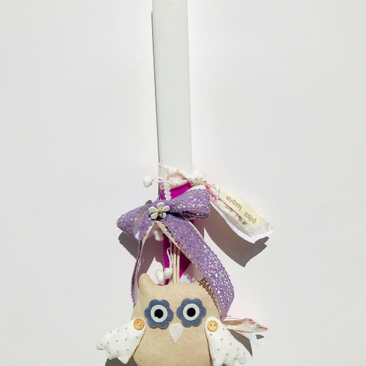 Εικόνα για Λαμπάδα πλακέ φούξια Κουκουβάγια