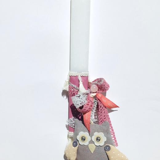 Εικόνα για Λαμπάδα άσπρη πλακέ κουκουβάγια