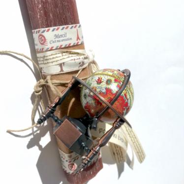 Εικόνα 2 για Λαμπάδα καφέ πλακέ Υδρόγειος - Ξύστρα