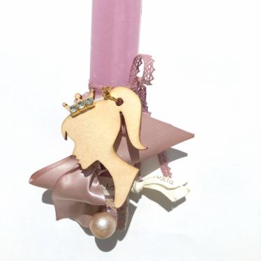 Εικόνα 2 για Λαμπάδα Ροζ πλακέ κοντή Princess