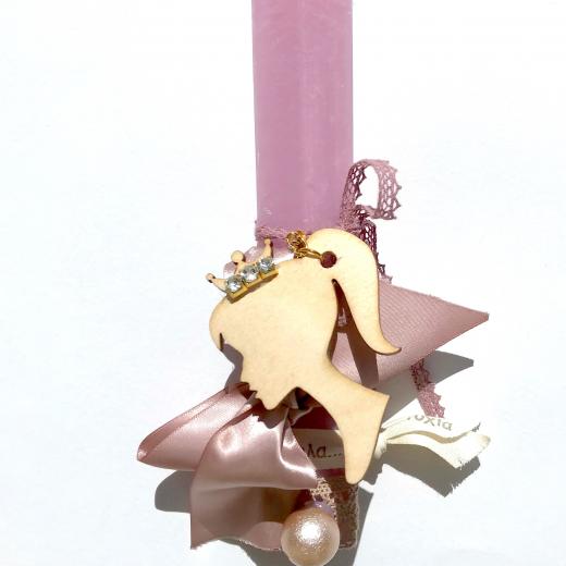 Εικόνα για Λαμπάδα Ροζ πλακέ κοντή Princess