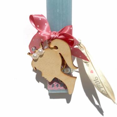 Εικόνα 2 για Λαμπάδα παλκέ κοντή σιέλ Princess