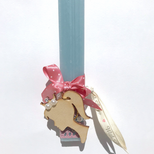 Εικόνα για Λαμπάδα παλκέ κοντή σιέλ Princess