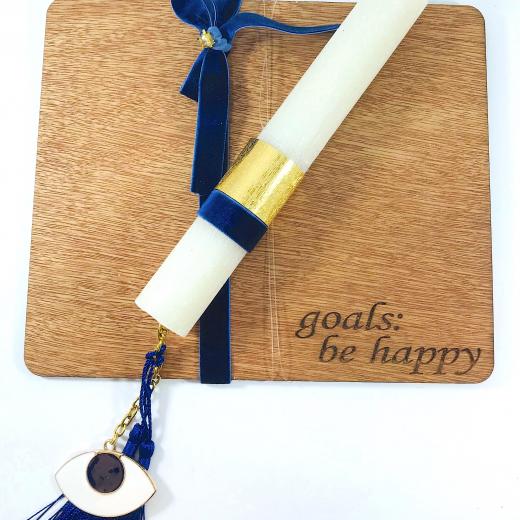 """Εικόνα για Λαμπάδα με ξυλινη βάση mousepad """"Μπλε Ματάκι"""""""