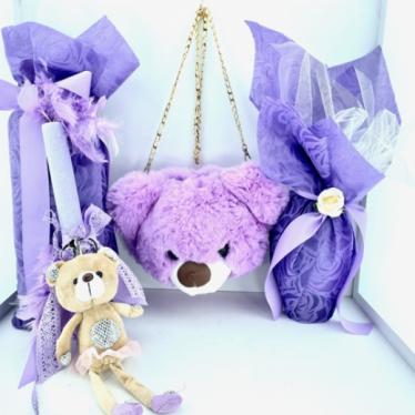 Εικόνα 2 για Σετ Λαμπάδας Purple Bear  Love Bag