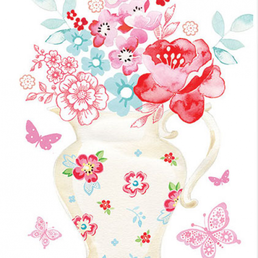 Εικόνα για Χαρτί decoupage ριζόχαρτο Α3 Ροζ λουλουδιά στο βάζο
