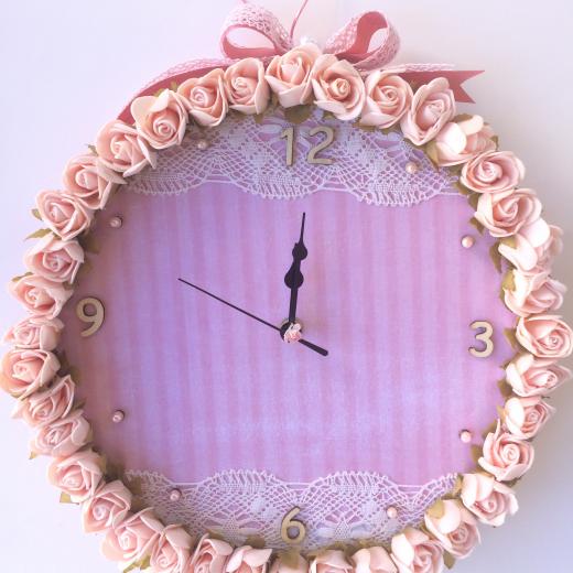 Εικόνα για Ρολόι Τοίχου Ροζ τριαντάφυλλα με δαντέλα
