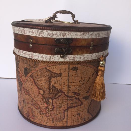 Εικόνα για Κουτί Ξύλινο στρογγυλό Χάρτες Vintage