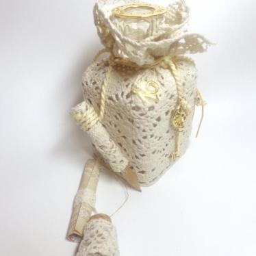 Εικόνα 2 για Γούρι Χειροποίητο Μπουκάλι Γυάλινο  Παραδοσιακή Δαντέλα