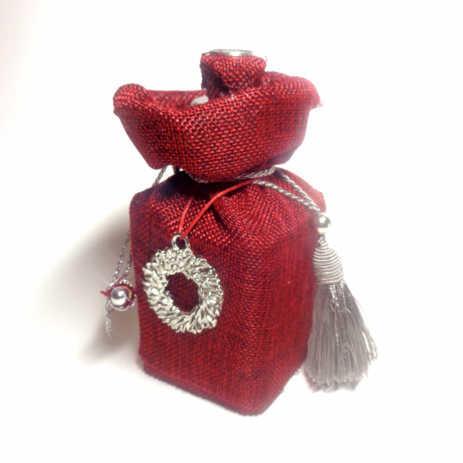 Εικόνα για Χειροποίητο Γούρι Γυάλινο μπουκάλι Κόκκινος καμβάς