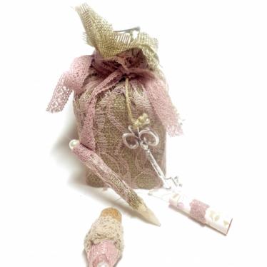 Εικόνα 2 για Γούρι Χειροποίητο Μπουκάλι Γυάλινο  Καμβάς ροζ Δαντέλα