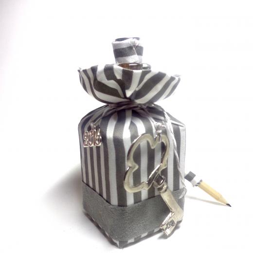 Εικόνα για Γούρι Χειροποίητο Μπουκάλι Γυάλινο Grey Stripes