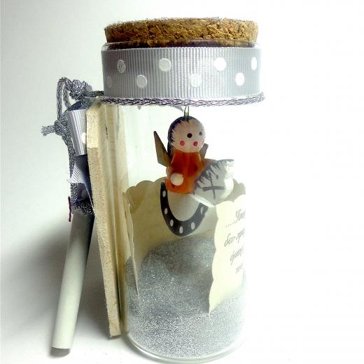 Εικόνα για Γούρι βάζάκι Αλογάκι Ασημί Glitter  με ευχή