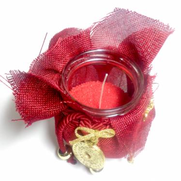 Εικόνα 2 για Γούρι βάζο γυάλινο κερί Κόκκινος καμβάς