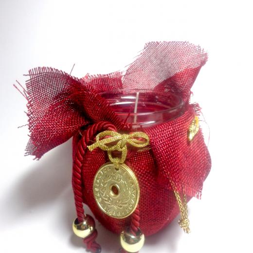 Εικόνα για Γούρι βάζο γυάλινο κερί Κόκκινος καμβάς