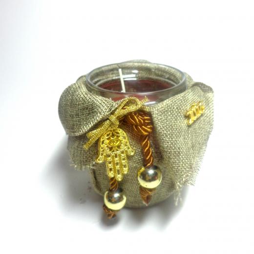 Εικόνα για Γούρι βάζο γυάλινο κερί Φυσικός καμβάς