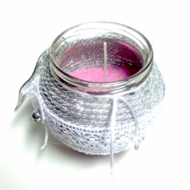Εικόνα 2 για Γούρι βάζο γυάλινο κερί Ασημί Φύλλο