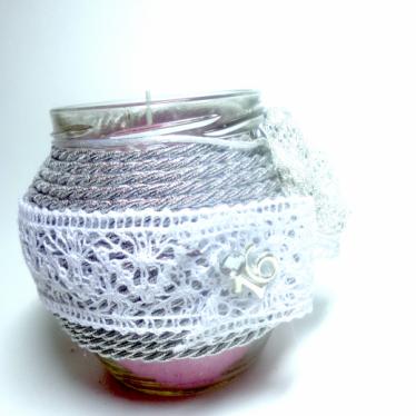 Εικόνα 3 για Γούρι βάζο γυάλινο κερί Ασημί Φύλλο