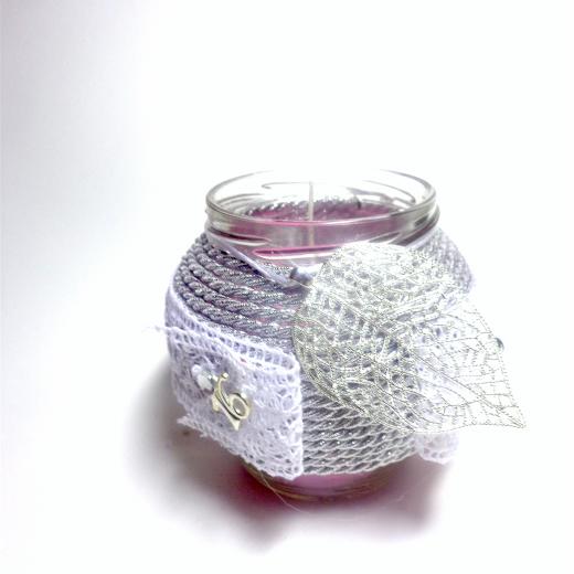 Εικόνα για Γούρι βάζο γυάλινο κερί Ασημί Φύλλο