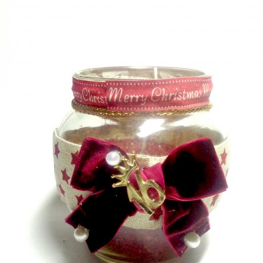 Εικόνα για Γούρι βάζο γυάλινο κερί Christmas Stars