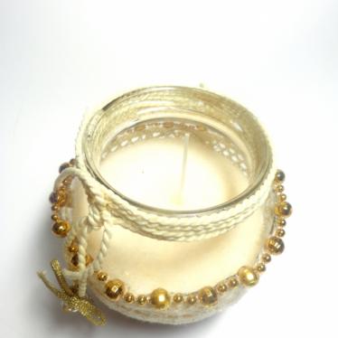 Εικόνα 2 για Γούρι βάζο γυάλινο κερί Μπεζ κορδόνι χεράκι