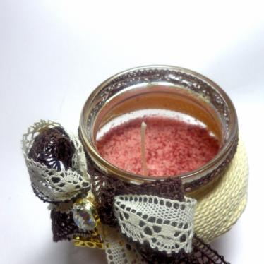 Εικόνα 2 για Γούρι βάζο γυάλινο κερί Μπεζ-Καφέ Παραδοσιακή κορδέλα