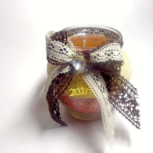 Εικόνα για Γούρι βάζο γυάλινο κερί Μπεζ-Καφέ Παραδοσιακή κορδέλα