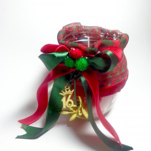 Εικόνα για Γούρι βάζο γυάλινο κερί Christmas pattern