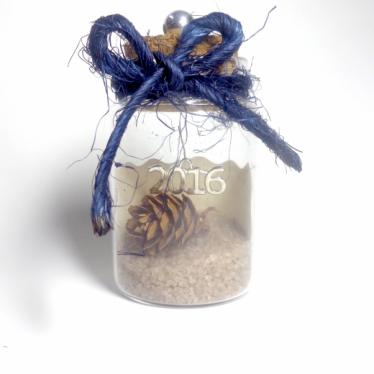 Εικόνα 2 για Γούρι γυάλινο μεσαίο μπουκαλάκι με ευχή, Κουκουνάρι