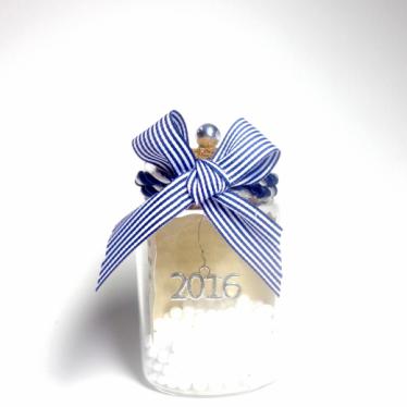 Εικόνα 2 για Γούρι γυάλινο μεσαίο μπουκαλάκι με ευχή, Blue Stripes