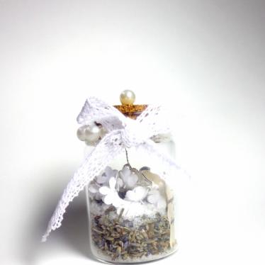 Εικόνα 2 για Γούρι γυάλινο μεσαίο μπουκαλάκι με ευχή, Πέρλα Λεβάντα