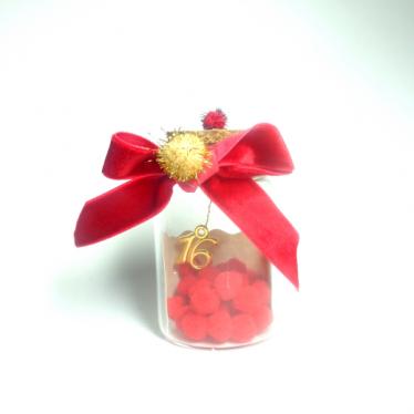 Εικόνα 2 για Γούρι γυάλινο μεσαίο μπουκαλάκι με ευχή, Κόκκινο Πον-πον