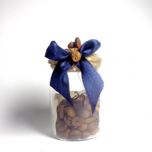 Εικόνα για Γούρι γυάλινο μεσαίο μπουκαλάκι με ευχή, Καφές