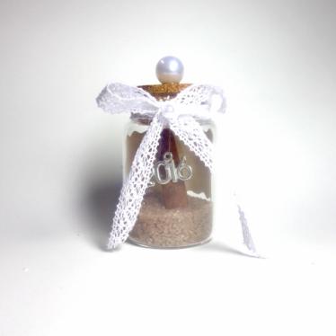 Εικόνα 2 για Γούρι γυάλινο μεσαίο μπουκαλάκι με ευχή, Πέρλα-κανέλα