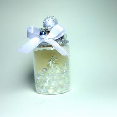 Εικόνα 2 για Γούρι γυάλινο μεσαίο μπουκαλάκι με ευχή, Ασημί
