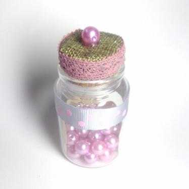 Εικόνα 2 για Γούρι γυάλινο μεσαίο μπουκαλάκι με ευχή, Ροζ Πουά