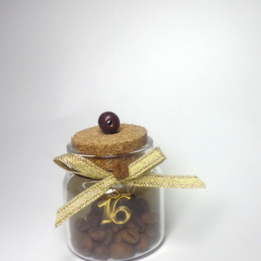Εικόνα 2 για Γούρι γυάλινο μικρό μπουκαλάκι με ευχή, Κόκκοι καφέ