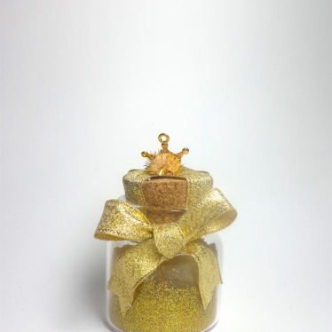 Εικόνα 2 για Γούρι γυάλινο μικρό μπουκαλάκι με ευχή, Χρυσό στέμμα