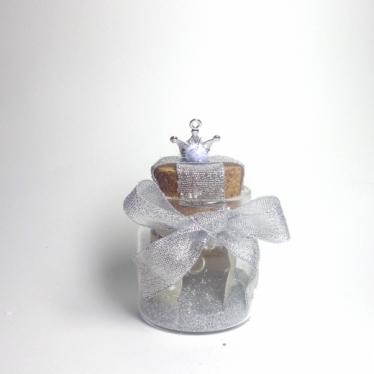 Εικόνα 2 για Γούρι γυάλινο μικρό μπουκαλάκι με ευχή, Ασημί στέμμα