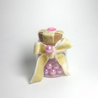 Εικόνα 2 για Γούρι γυάλινο μικρό μπουκαλάκι με ευχή, Ροζ πέρλα