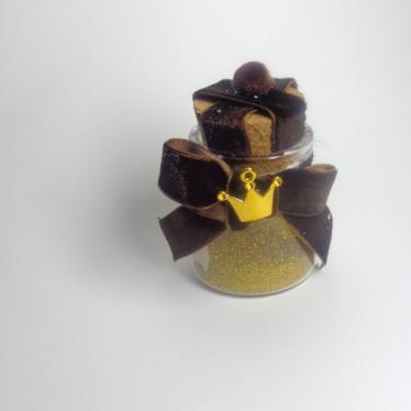 Εικόνα 2 για Γούρι γυάλινο μικρό μπουκαλάκι με ευχή, Καφέ Πον πον